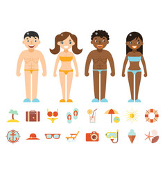 summer vacation male female characters color beach vector image