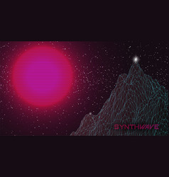 Synthwave mountain background huge pink sun vector