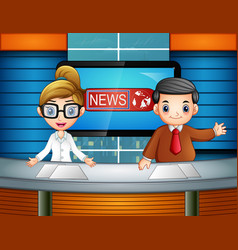 two newsreader is broadcasting on tv vector image