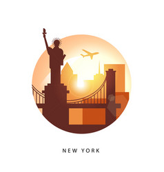 united states new york detailed silhouette vector image