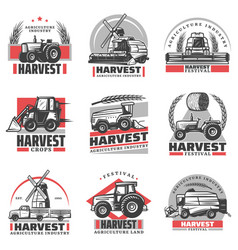 Vintage harvesting emblems set vector