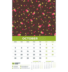 Wall calendar template for october 2020 week vector