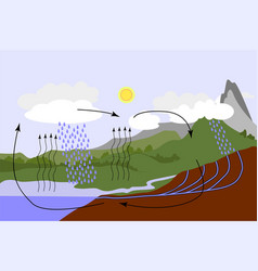 Water cycle in nature vector