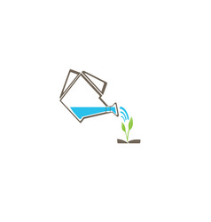 watering can with water drops icon and the plants vector image