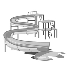 Waterslide in pool icon gray monochrome style vector image
