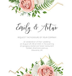 wedding floral invite invitation save date card vector image