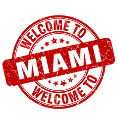 Welcome to miami red round vintage stamp vector