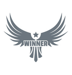 Winner wing logo simple gray style vector