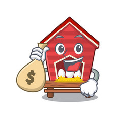 With money bag chicken coop isolated in mascot vector