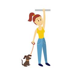 Woman holds handrail keeping dog leash vector