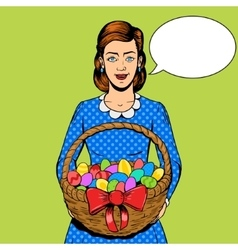 Woman with easter eggs pop art style vector image