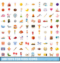 100 toy for kids icons set cartoon style vector
