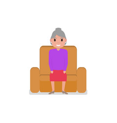 cartoon grandmother sitting in a armchair vector image vector image