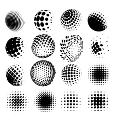 Collection of halftone sphere logo set vector image