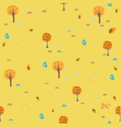 cute autumn pattern with small trees on modern vector image vector image
