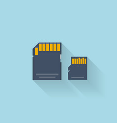 Flat memory card icon for web vector image