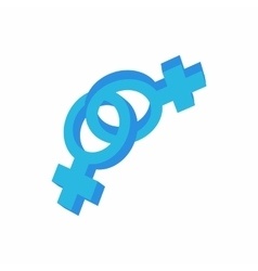 Lesbian love sign icon cartoon style vector