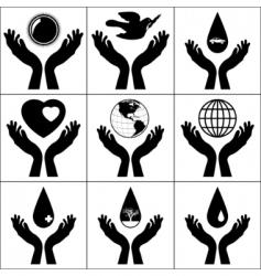 open hands held signs vector image
