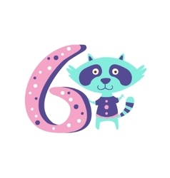 Raccoon standing next to number six stylized funky vector
