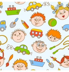 Seamless doodle smiling boys and girls vector image vector image