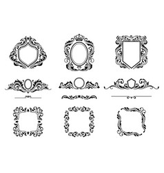 set of vintage decorations frame elements vector image vector image