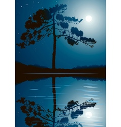 Trees and Full Moon Background vector image