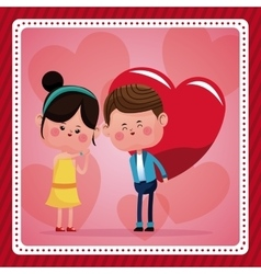boy big red haerts girl funny pink hearts vector image