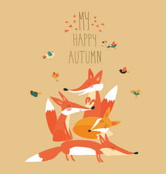cute foxes with birds vector image