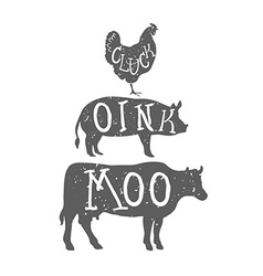 Farm anilmals silhouette chicken pig and cow vector