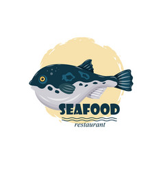 flat fugu pufferfish seafood restaurant label with vector image vector image