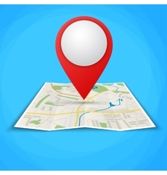 Folded maps with color point markers vector image vector image