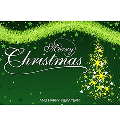 Green christmas greeting vector