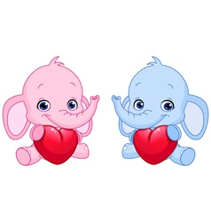 baby elephants holding hearts vector image