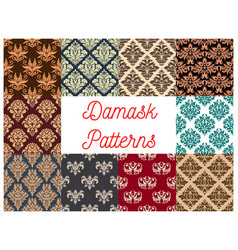 damask seamless decoration patterns set vector image