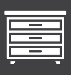 drawer unit solid icon furniture and interior vector image vector image