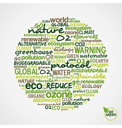 Go Green Words cloud about environmental vector image