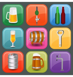 Set icons beer equipment for creating your own vector image vector image