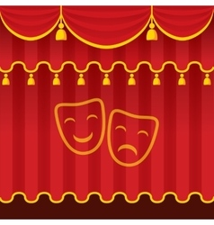 Theater stage with red curtains vector