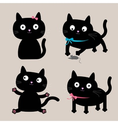 Cute cartoon black cat set Funny collection vector image