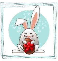 Happy ester rabbit and multicolored eggs vector