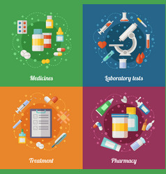 medical set with pharmaceutical vector image