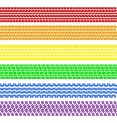 Set of detailed tire prints a rainbow vector image