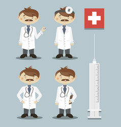 set of doctor character vector image