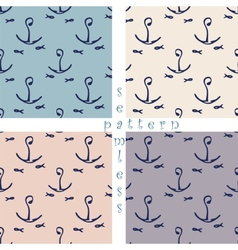 set of seamless sea pattern vector image vector image