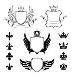Set of winged shields - coat of arms - emblems vector image