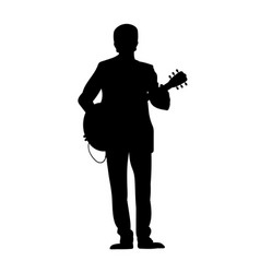 silhouettes of musicians with guitar vector image