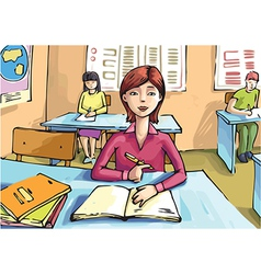 Studying Girl vector image