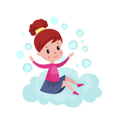 sweet little girl sitting on a cloud and playing vector image vector image