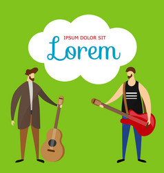 acoustic electric guitarists on green background vector image