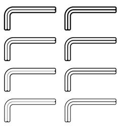 Allen unbrako inbus key black line symbols vector